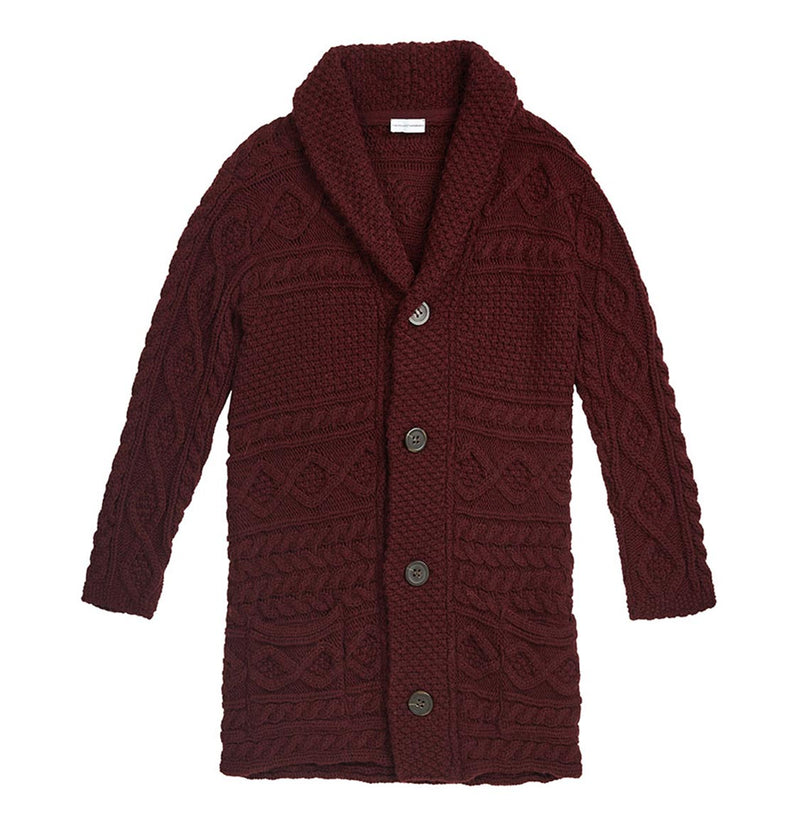Longline Shawl Cable Wool Knitwear Burgundy | The Project Garments - A