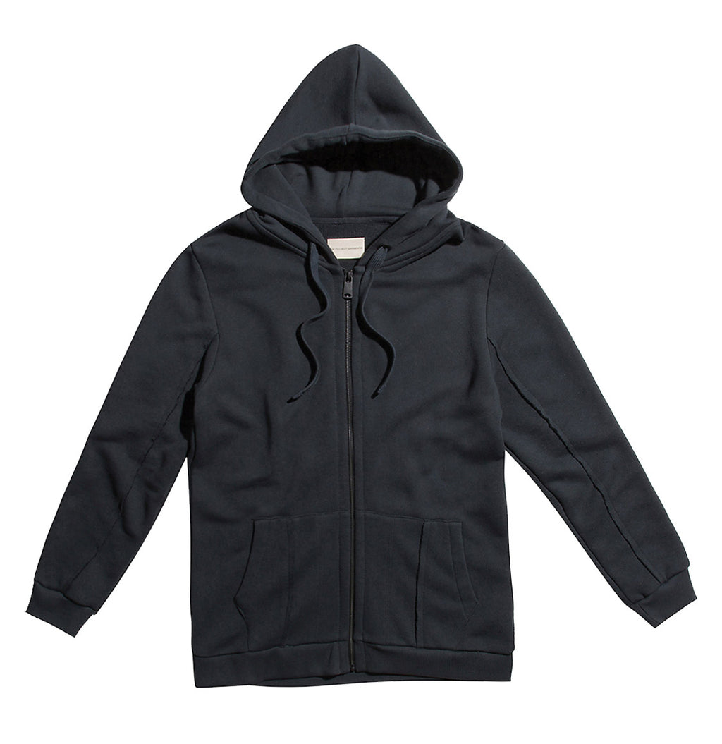 Loopback Cotton-Jersey Zip-Up Hoodie Charcoal Grey