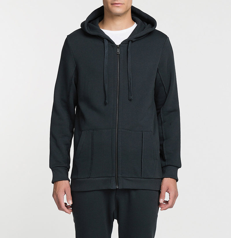 Loopback Cotton-Jersey Zip-Up Hoodie Charcoal Grey Front