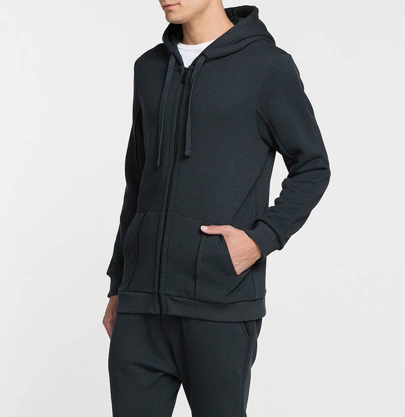 Loopback Cotton-Jersey Zip-Up Hoodie Charcoal Grey Side
