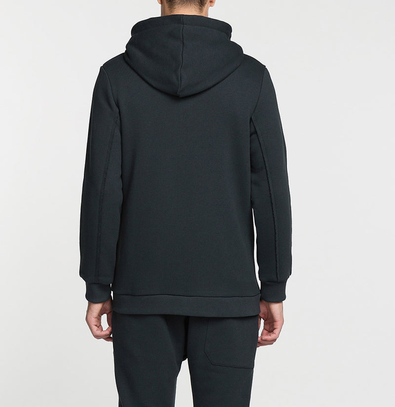Loopback Cotton-Jersey Zip-Up Hoodie Charcoal Grey Back