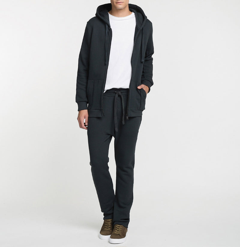 Loopback Cotton-Jersey Zip-Up Hoodie Charcoal Grey Model