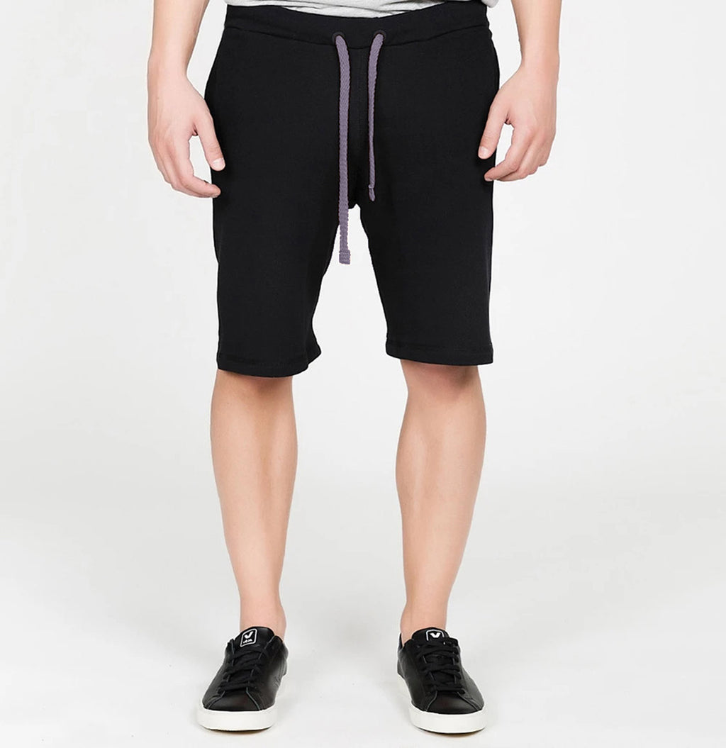 Loopback Cotton Jersey Relaxed Shorts Black Light Lavender