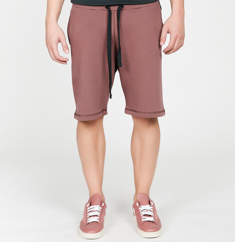 Loopback Cotton Jersey Relaxed Shorts Rosewood | The Project Garments - A