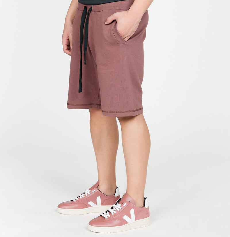 Loopback Cotton Jersey Relaxed Shorts Rosewood | The Project Garments - B