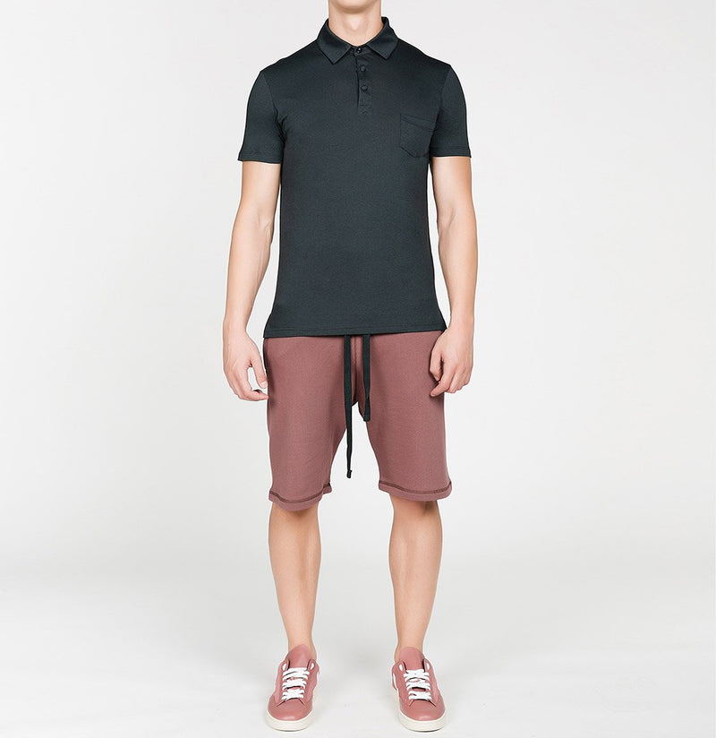 Loopback Cotton Jersey Relaxed Shorts Rosewood | The Project Garments - Model