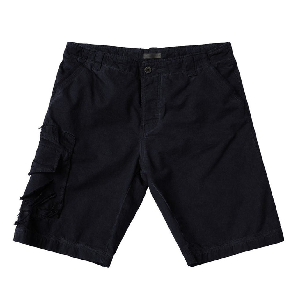 The Project Garments Oil Washed Cotton Cargo Distressed Shorts Navy Blue