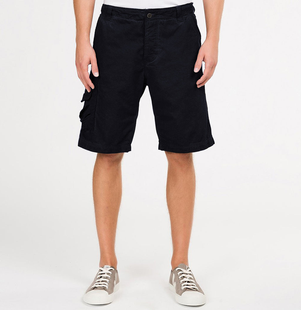 The Project Garments Oil Washed Cotton Cargo Distressed Shorts Navy Blue Front