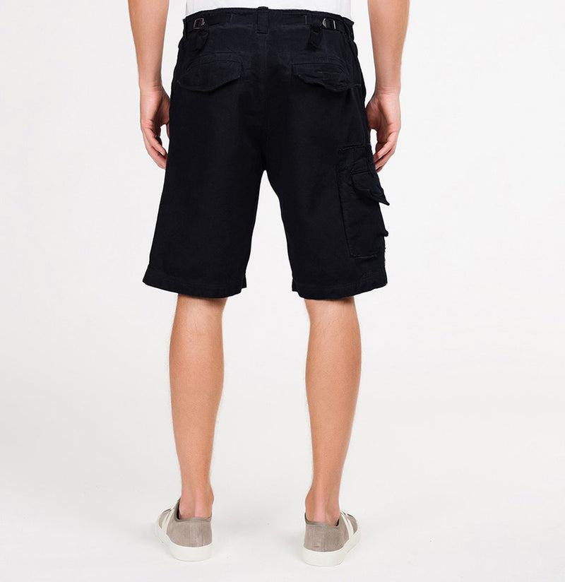 The Project Garments Oil Washed Cotton Cargo Distressed Shorts Navy Blue Back