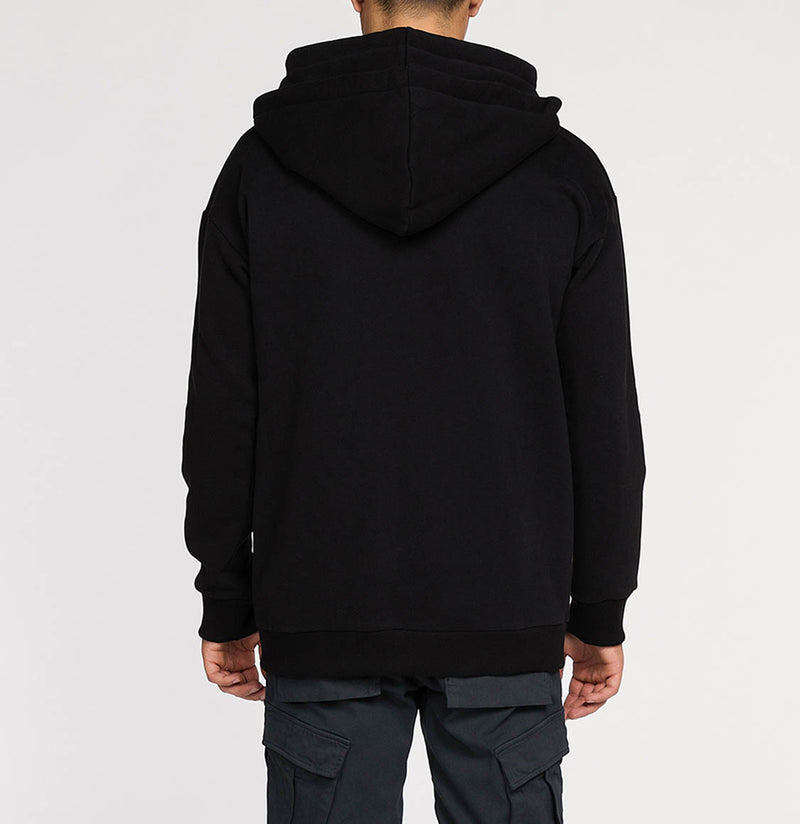 Organic Cotton Double Hooded Zip Up Black | The Project Garments - B