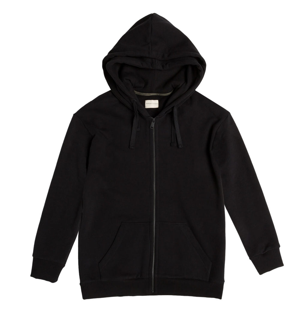 Organic Cotton Double Hooded Zip Up Black | The Project Garments - A