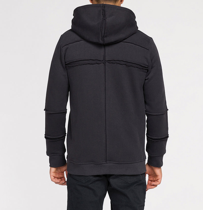 Organic Cotton Laser Cut Zip Up Hoodie Charcoal Grey | The Project Garments - Model