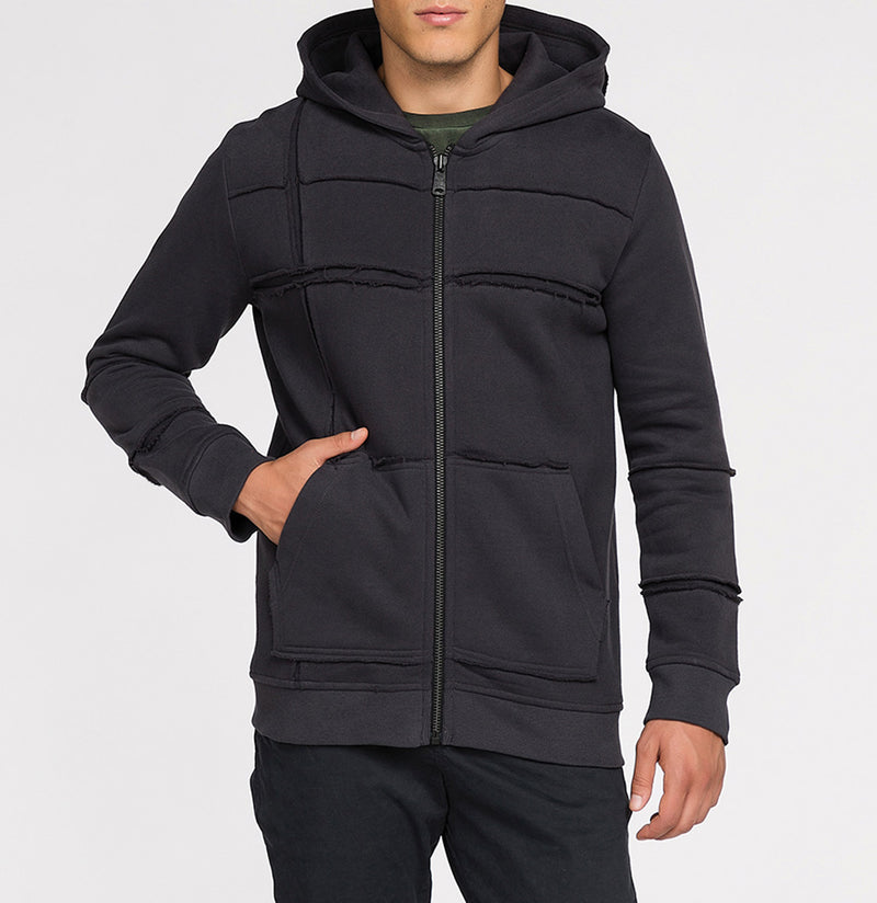 Organic Cotton Laser Cut Zip Up Hoodie Charcoal Grey | The Project Garments - Front