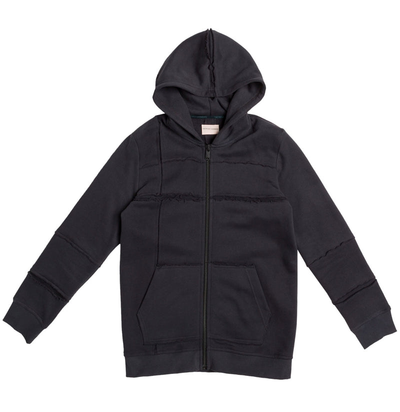 Organic Cotton Laser Cut Zip Up Hoodie Charcoal Grey | The Project Garments