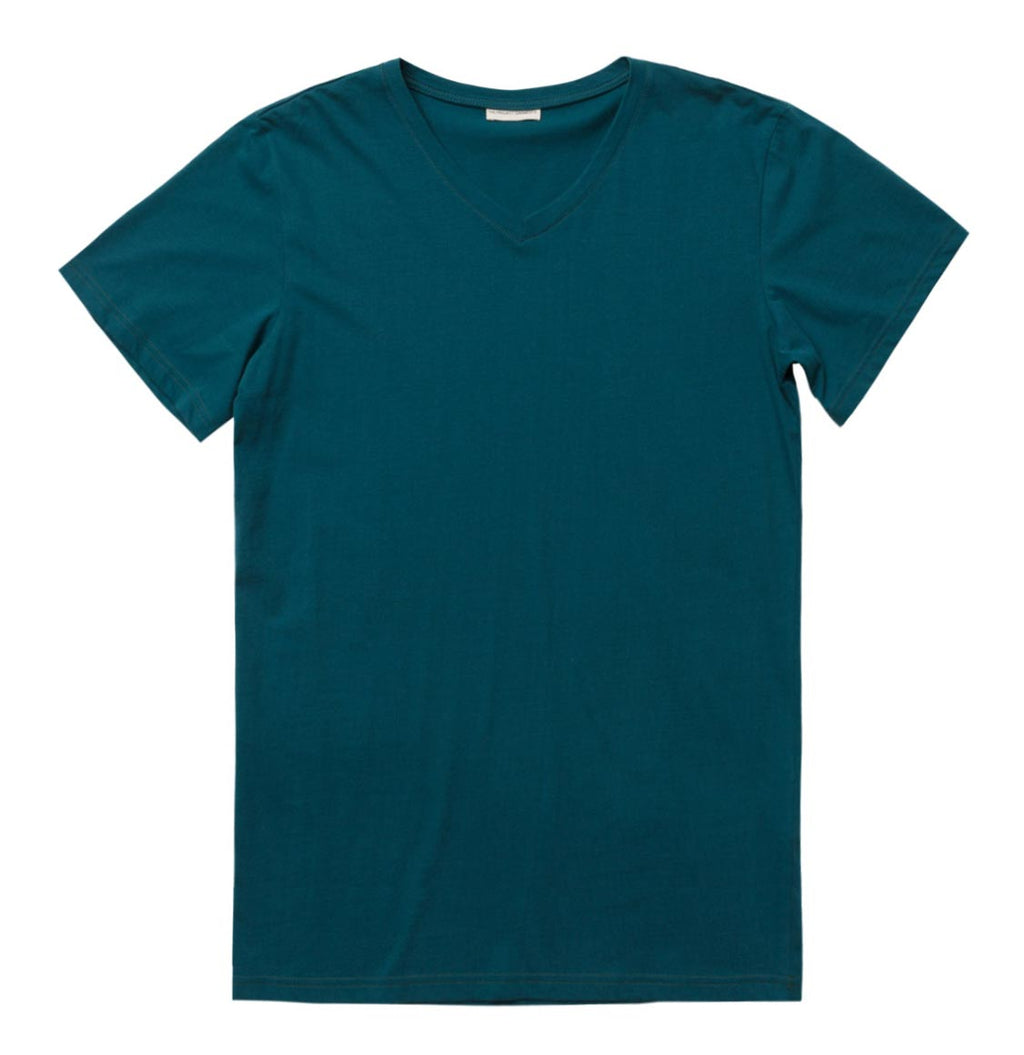 Organic Cotton V-neck T-shirt Forest Green - A