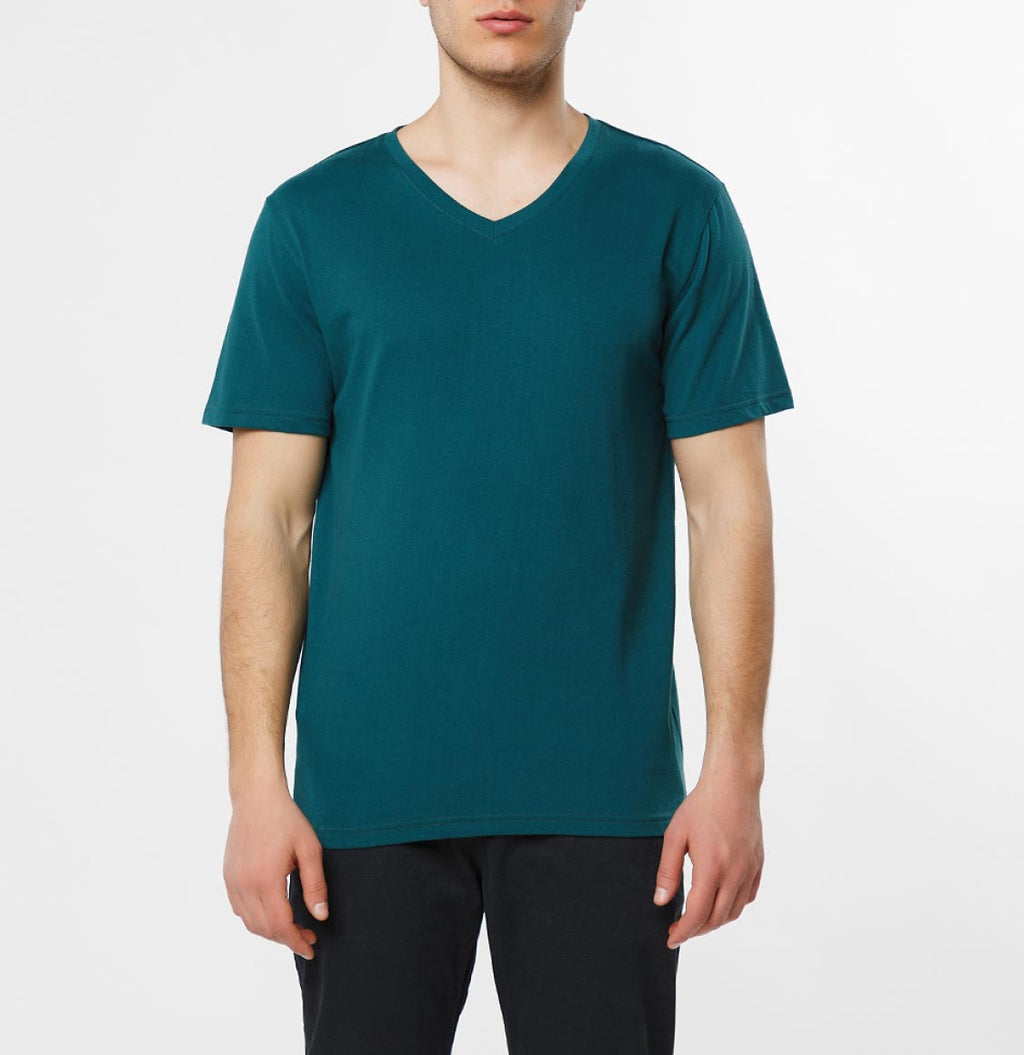 Organic Cotton V-neck T-shirt Forest Green - B