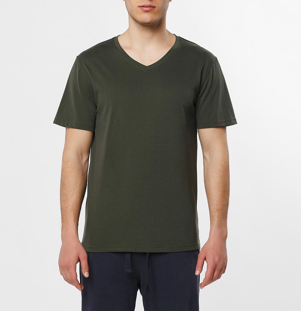 Organic Cotton V-neck T-shirt Khaki - B