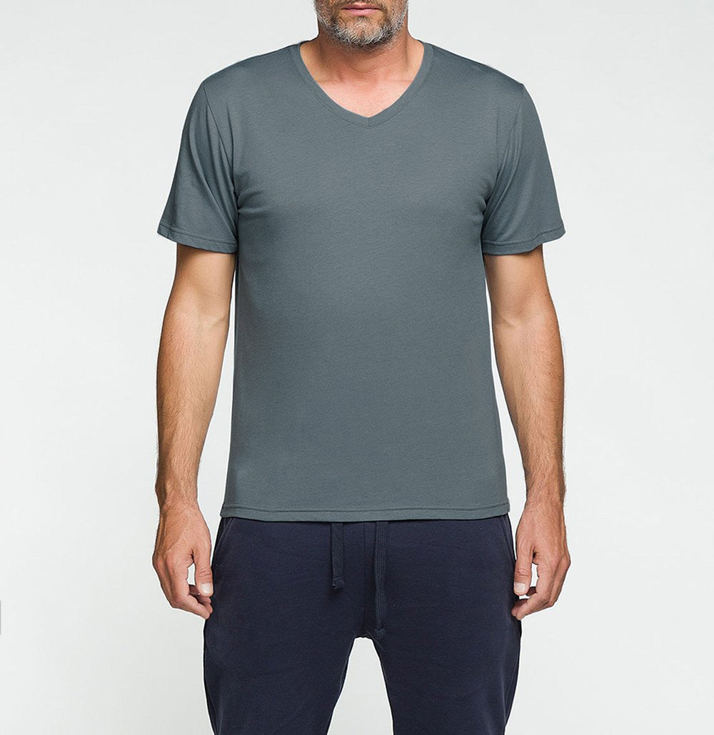 Organic Cotton V-neck T-shirt Storm Blue | The Project Garments - Front
