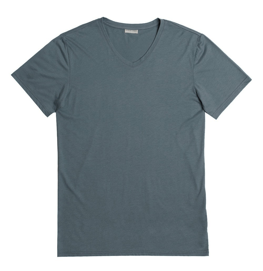 Organic Cotton V-neck T-shirt Storm Blue | The Project Garments - Product