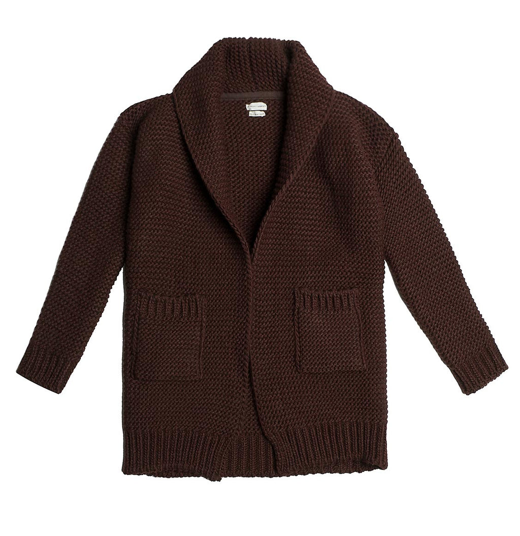 Oversized Shawl Collar Wool Blend Cardigan Brick