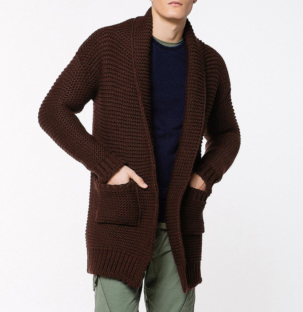 Oversized Shawl Collar Wool Blend Cardigan Brick Front