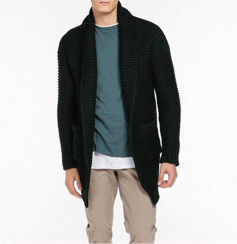 The Project Garments Oversized Shawl Collar Wool Blend Cardigan Forest Green Front