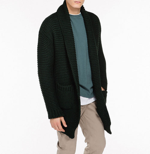 Oversized Shawl Collar Wool Blend Cardigan Forest Green Front