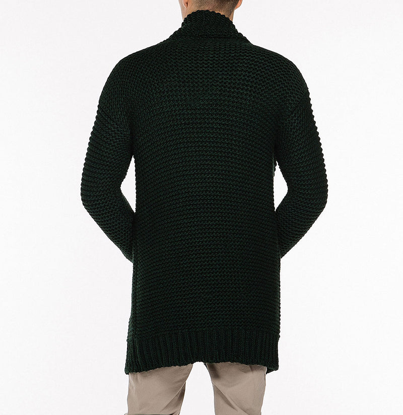 The Project Garments Oversized Shawl Collar Wool Blend Cardigan Forest Green Back