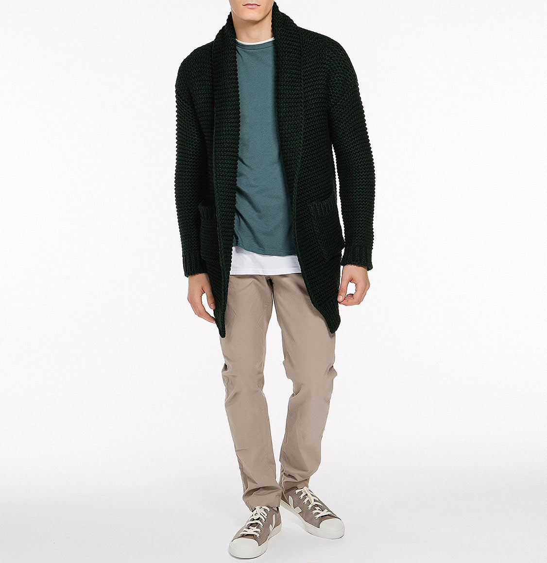 Oversized Shawl Collar Wool Blend Cardigan Forest Green Model