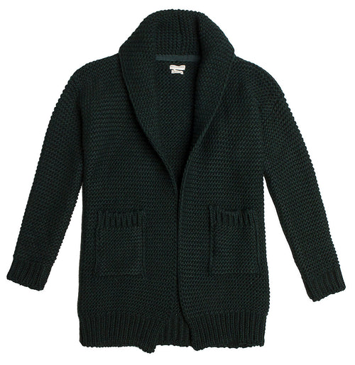 Oversized Shawl Collar Wool Blend Cardigan Forest Green