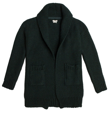 Two Button Shawl Collar Wool Blend Cardigan Grey