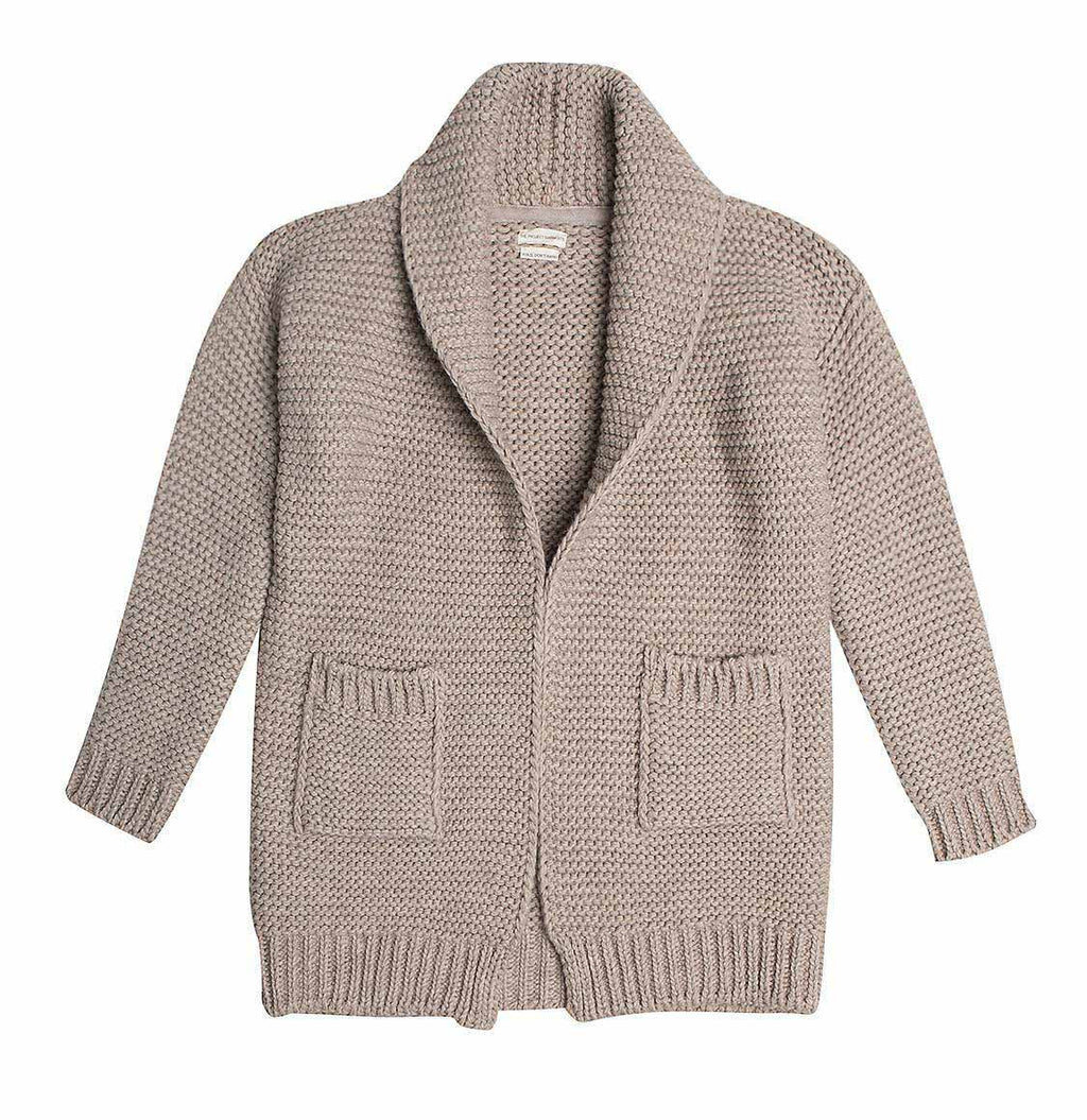 The Project Garments Men's Oversized Shawl Wool Blend Cardigan Beige