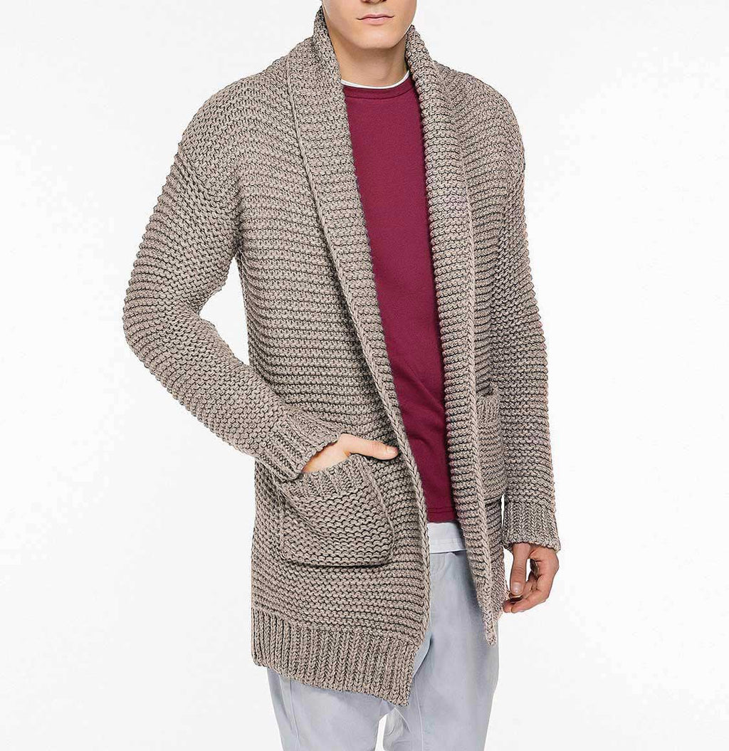 The Project Garments Men's Oversized Shawl Wool Blend Cardigan Beige Front