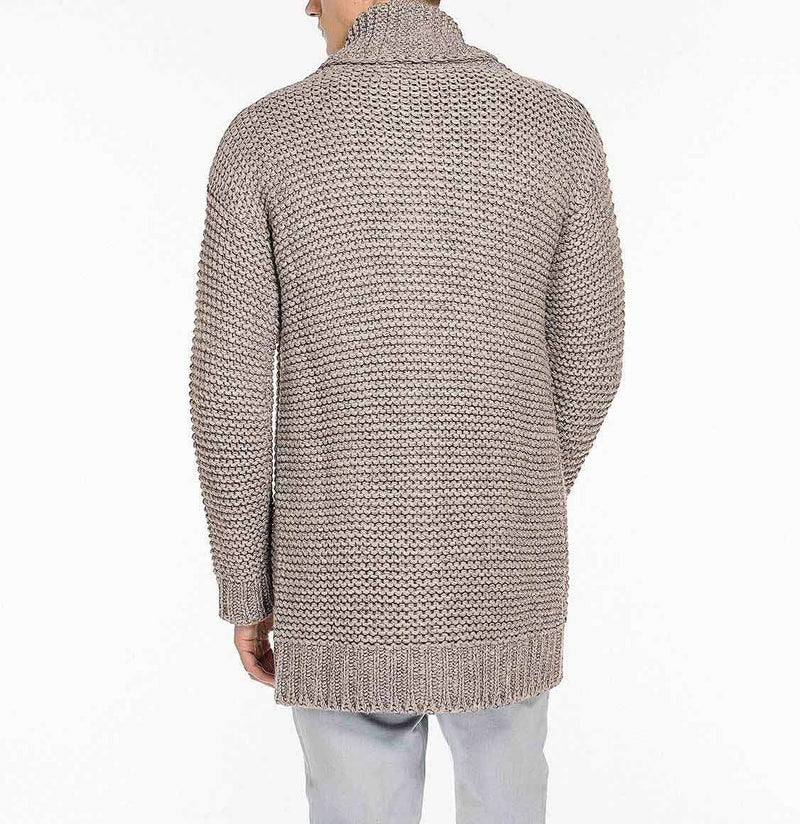 The Project Garments Men's Oversized Shawl Wool Blend Cardigan Beige Back