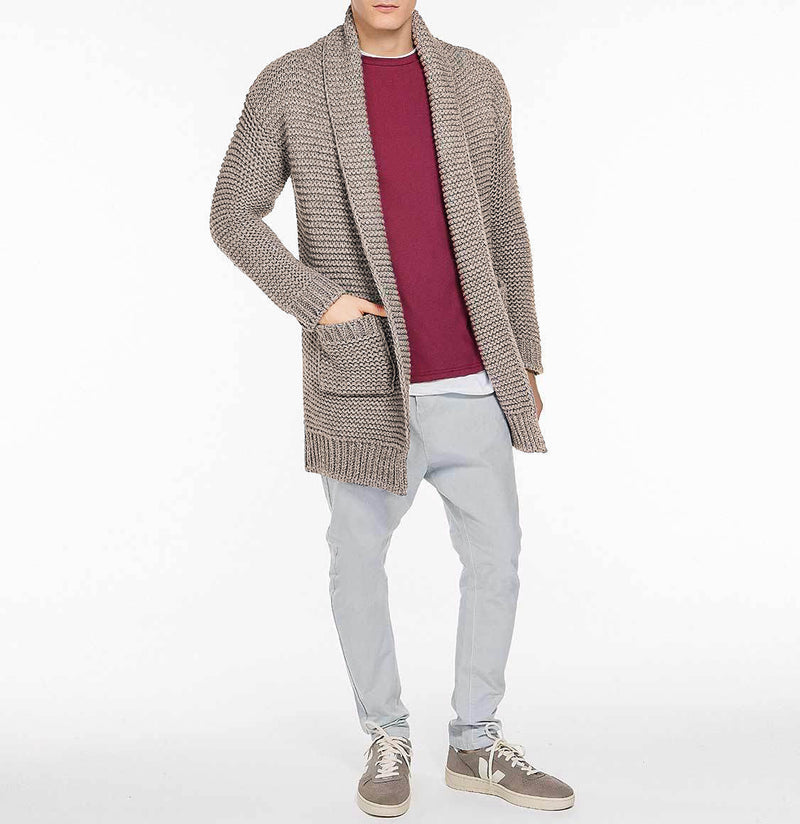The Project Garments Men's Oversized Shawl Wool Blend Cardigan Beige Model