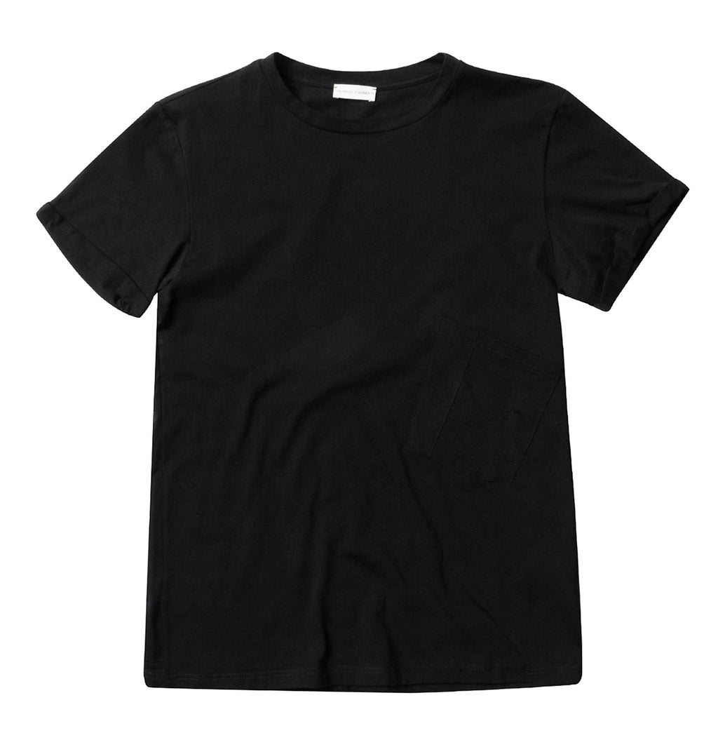 Organic Cotton Asymmetric Pocket Crew Neck T-shirt Black - Product