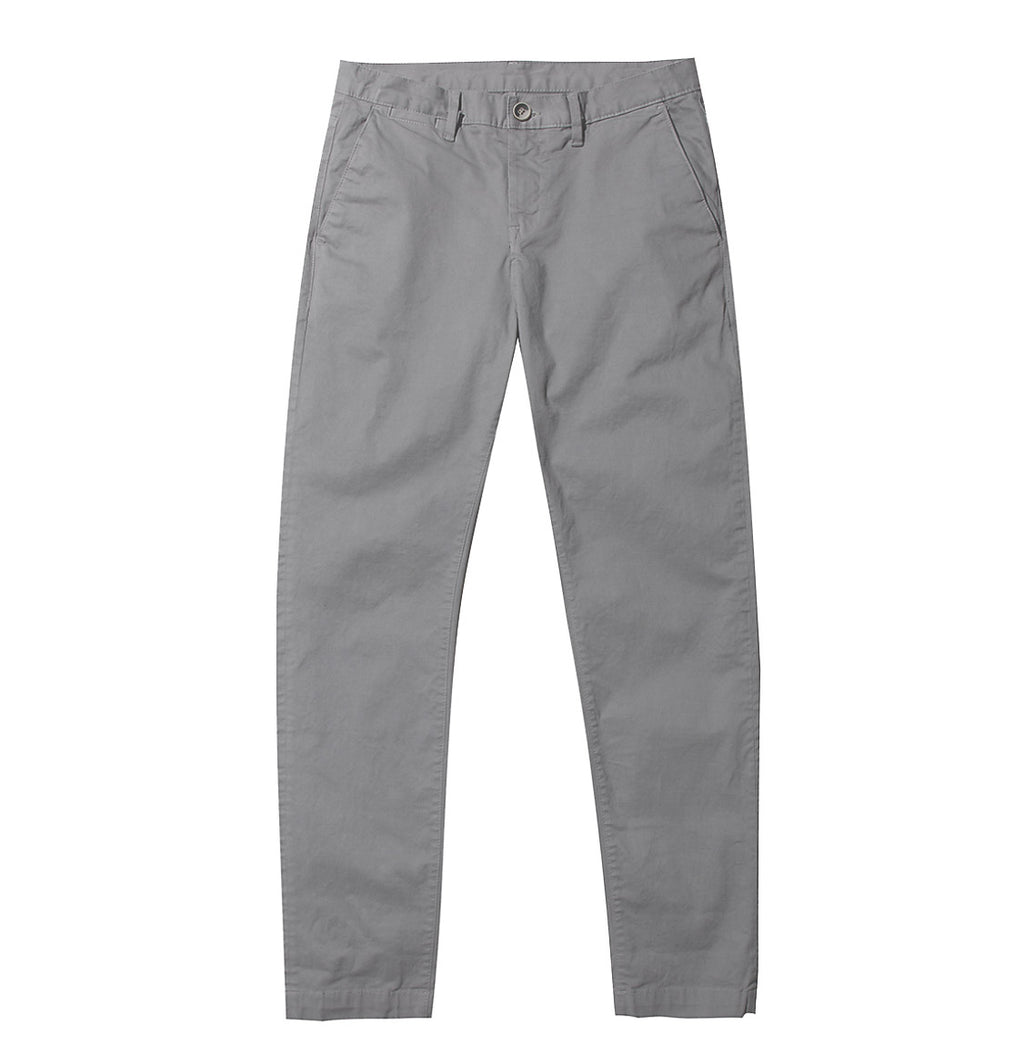 Regular Fit Cotton Blend Garment Washed Chino Pants Light Grey