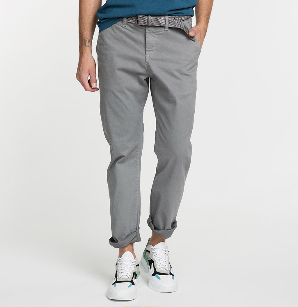 Regular Fit Cotton Blend Garment Washed Chino Pants Light Grey Model A