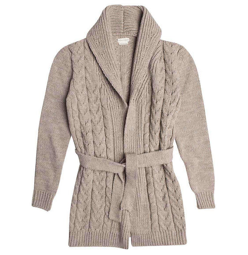 Shawl Collar Wool Blend Belted Cardigan Beige | The Project Garments - A