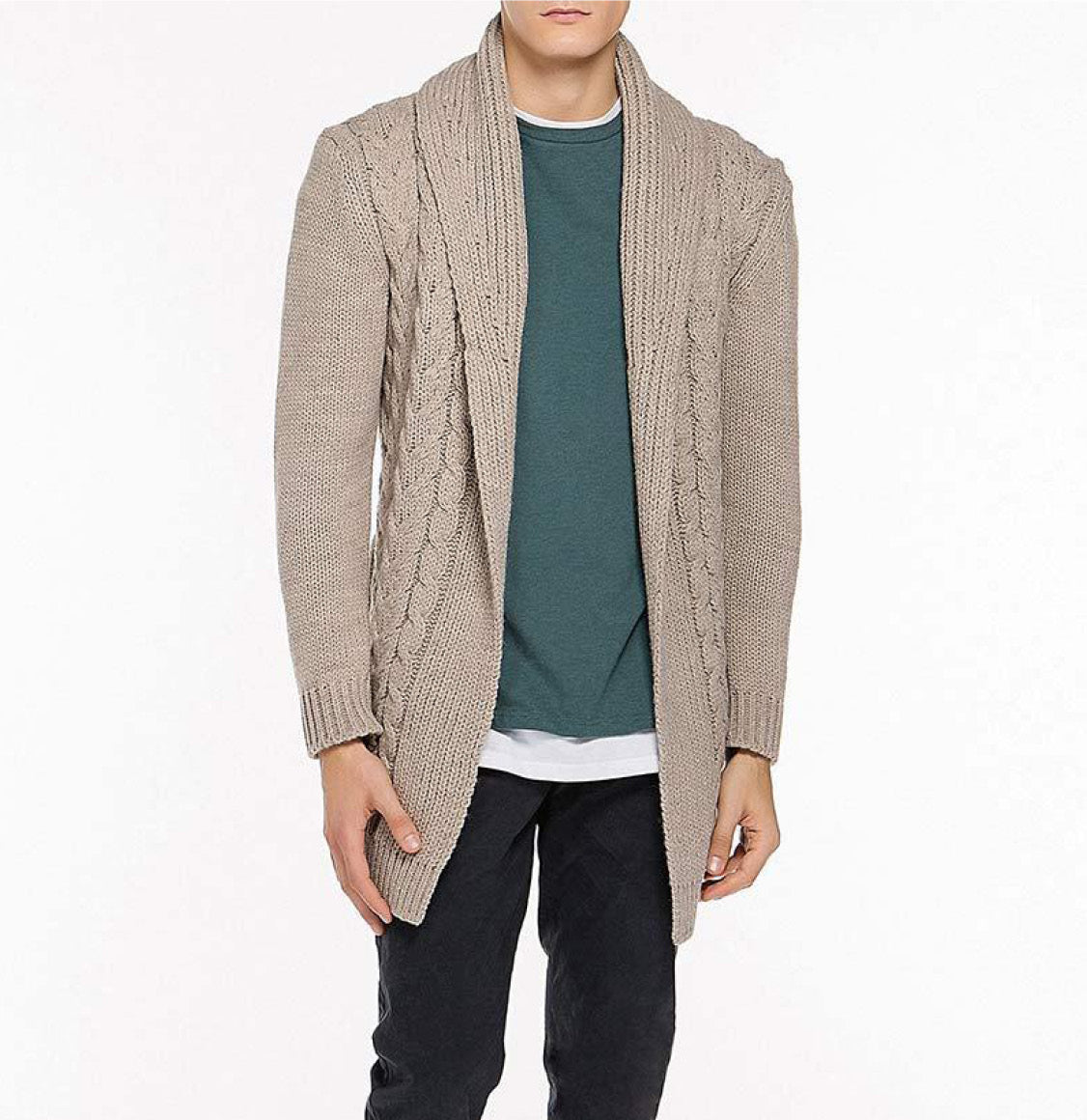 The Project Garments Shawl Collar Wool Blend Belted Cardigan Beige Front