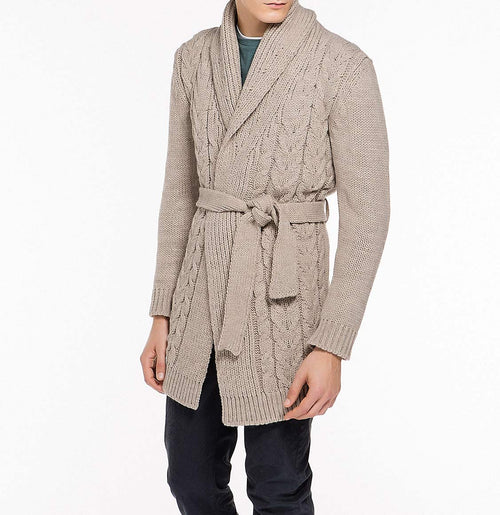 Shawl Collar Wool Blend Belted Cardigan Beige | The Project Garments - Front