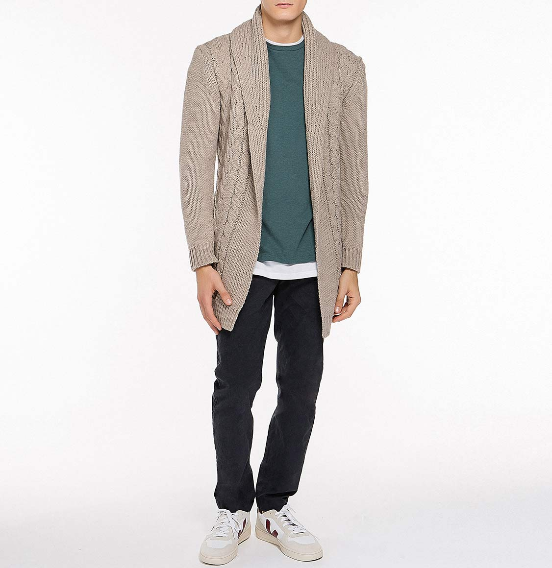Shawl Collar Wool Blend Belted Cardigan Beige | The Project Garments - Model