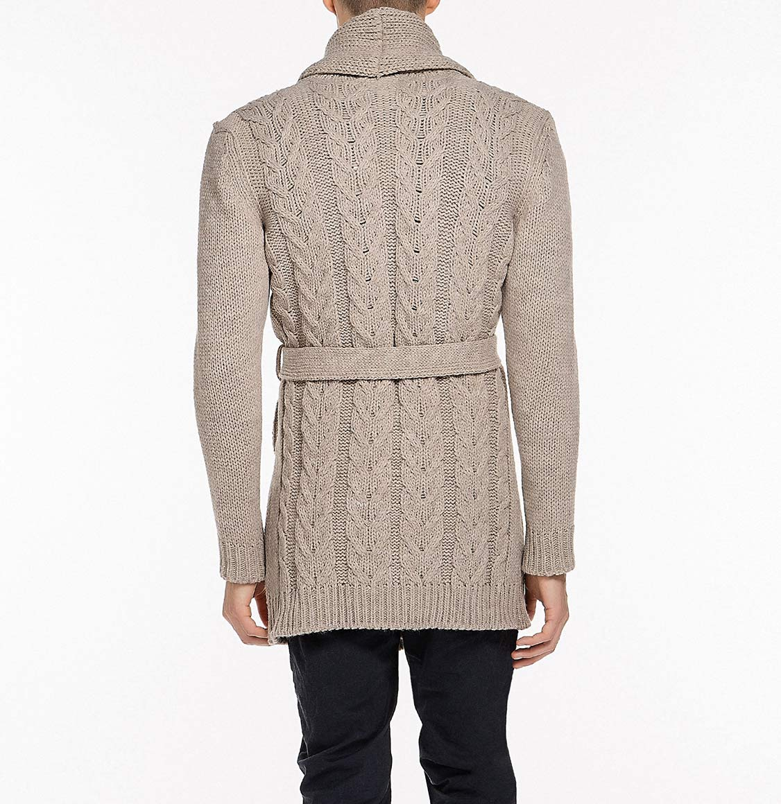 Shawl Collar Wool Blend Belted Cardigan Beige | The Project Garments - Back