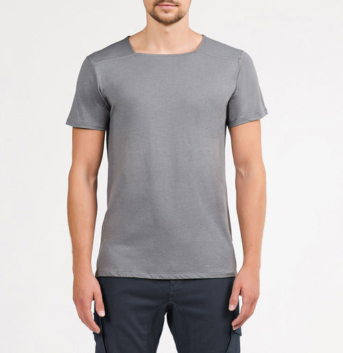 Silk Blend Box Neck T-shirt Grey | The Project Garments - A