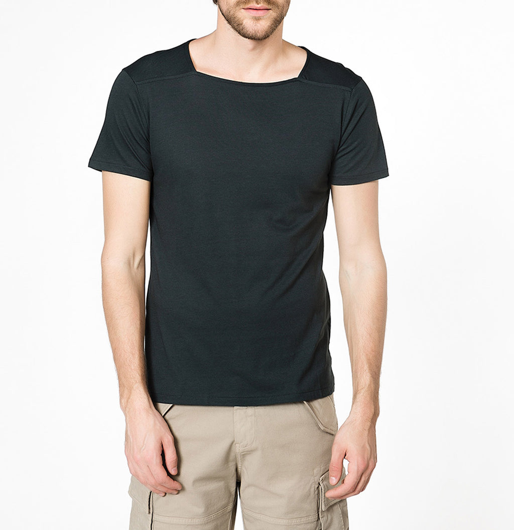 The Project Garments Men's Short Sleeve Silk Blend Box Neck T-shirt Black - A