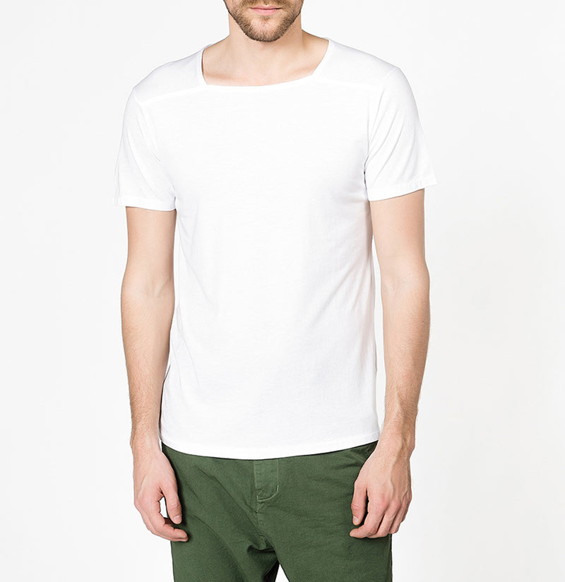 The Project Garments Men's Short Sleeve Silk Blend Box Neck T-shirt White - A