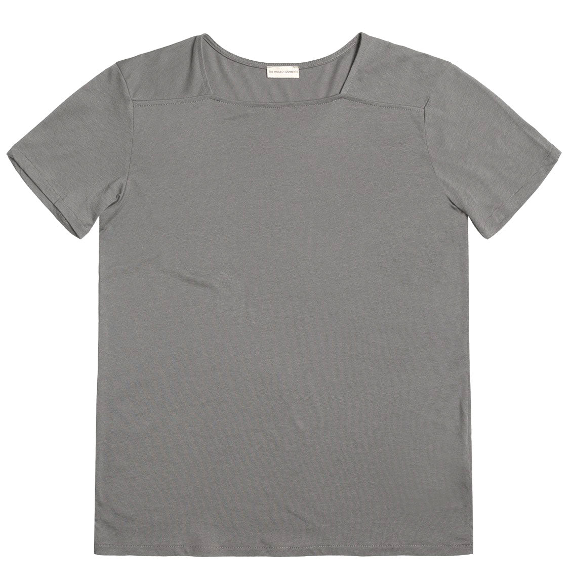 Silk Blend Box Neck T-shirt Grey | The Project Garments - Product