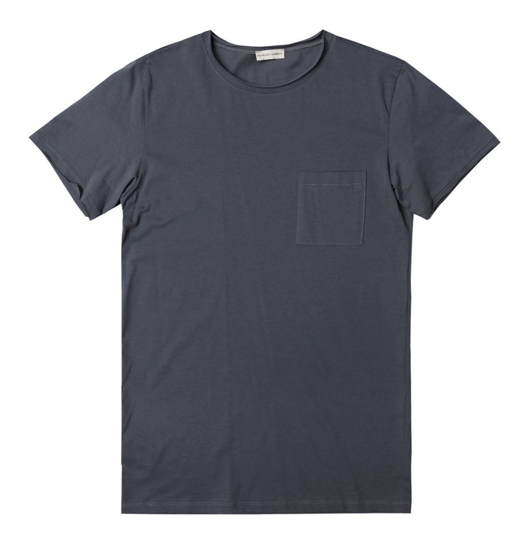 Slim Fit Pocket Crew Neck T-Shirt Slate Blue - A