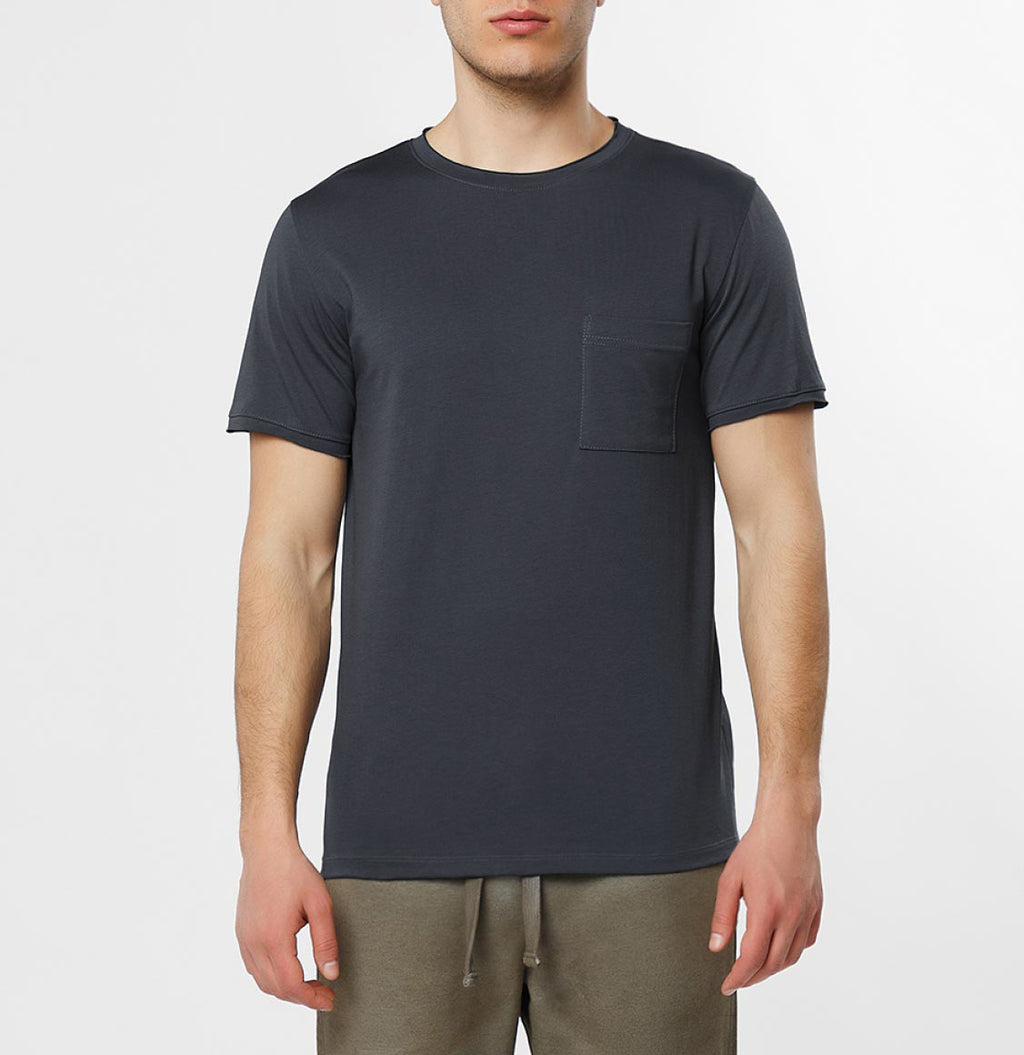 Slim Fit Pocket Crew Neck T-Shirt Slate Blue - B