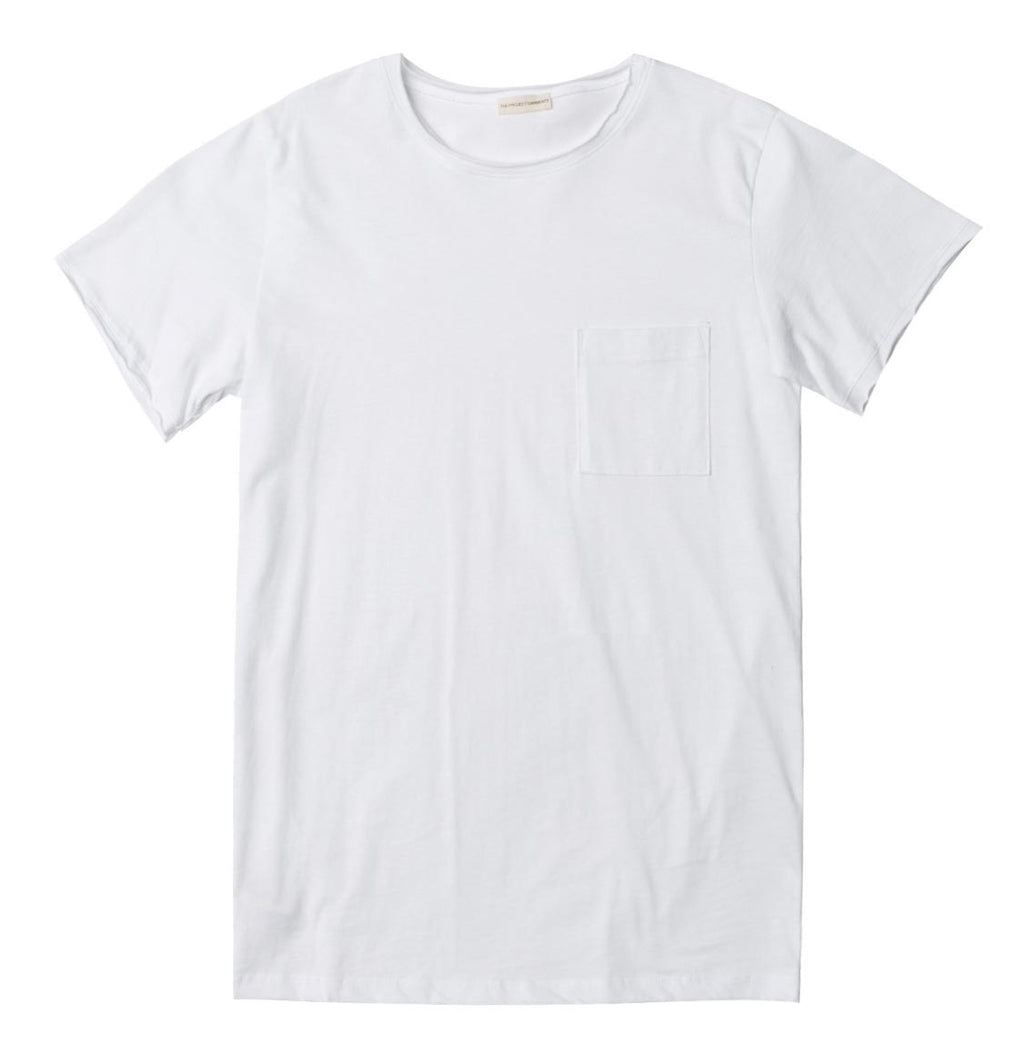Slim Fit Pocket Crew Neck T-Shirt White - A